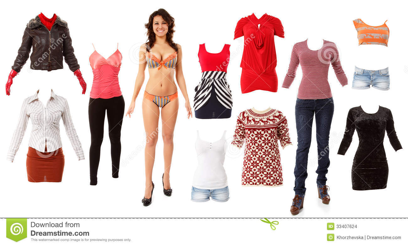 Woman Beautiful Fashion Clothes Collection Stock Images - Image ...