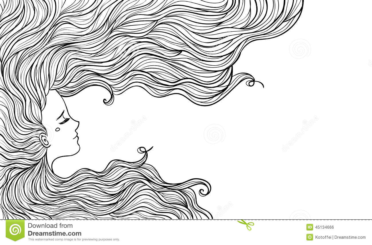 Hairstyle Vector: Woman With Beautiful Hair. Vector Illustration. Stock