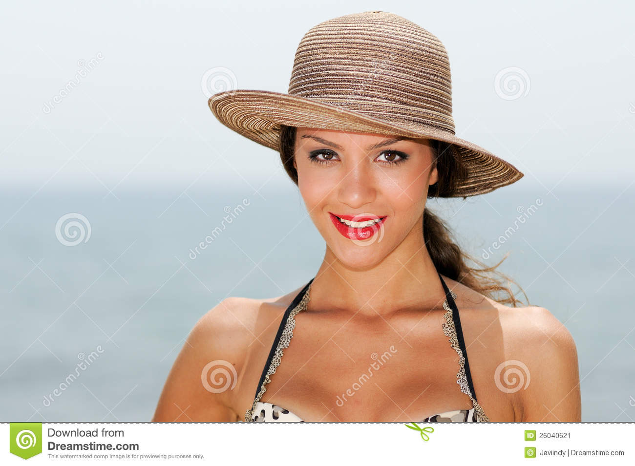 Woman With Beautiful Hat On A Tropical Beach Stock Image ... - photo#10