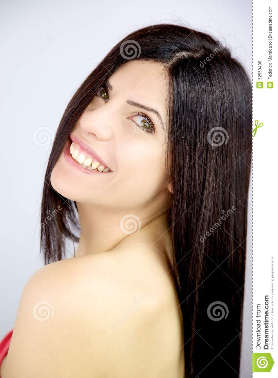 Woman With Beautiful Long Silky Hair Smiling In Studio Stock Photo