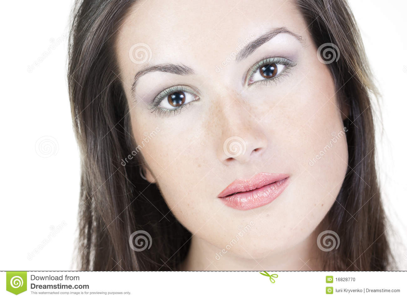 Beautiful Girl With Purity Freckles Skin Make Up Stock
