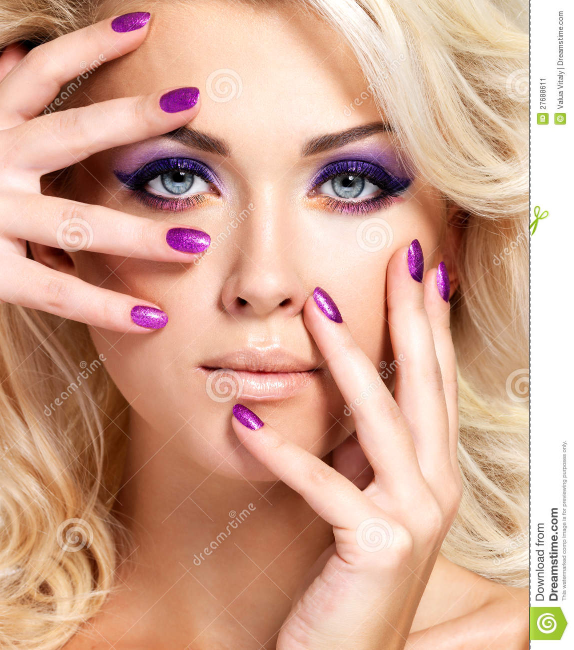Woman With Beautiful Nails And Eye Makeup Stock Image