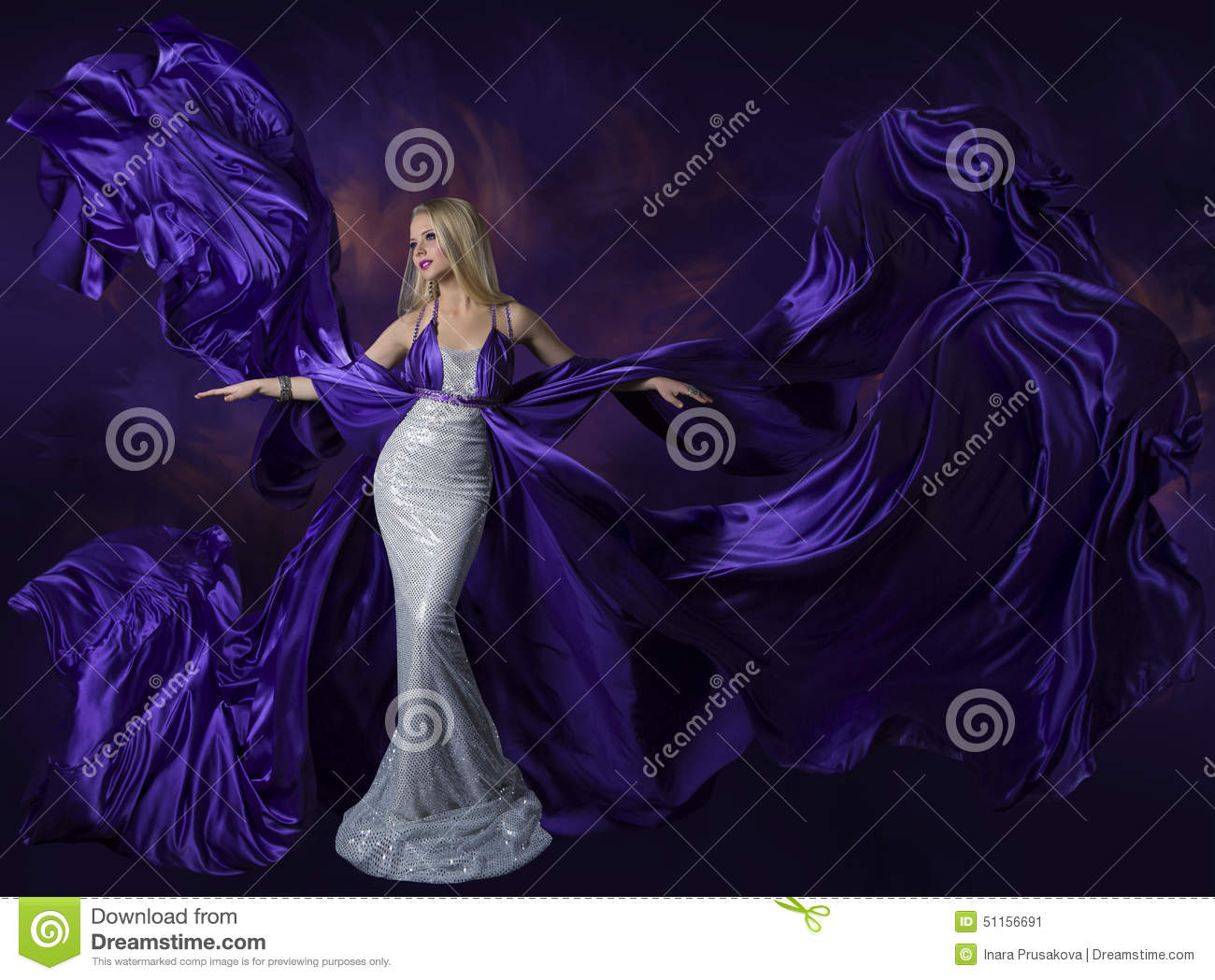 Woman Beauty Dress Flying Purple Silk Cloth, Lady Creative ...