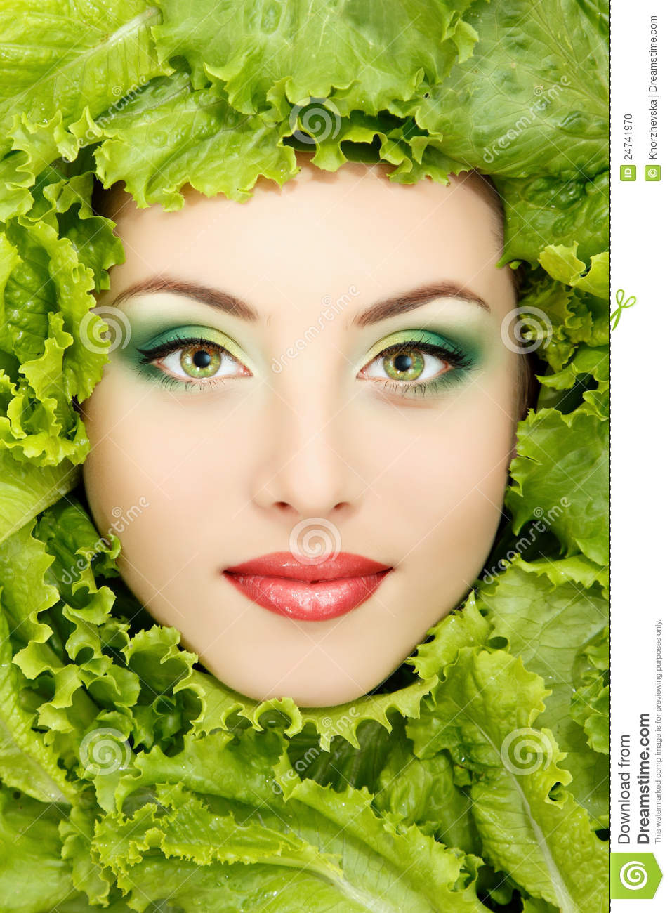 Woman Beauty Face With Green Fresh Lettuce Leaves Stock ...