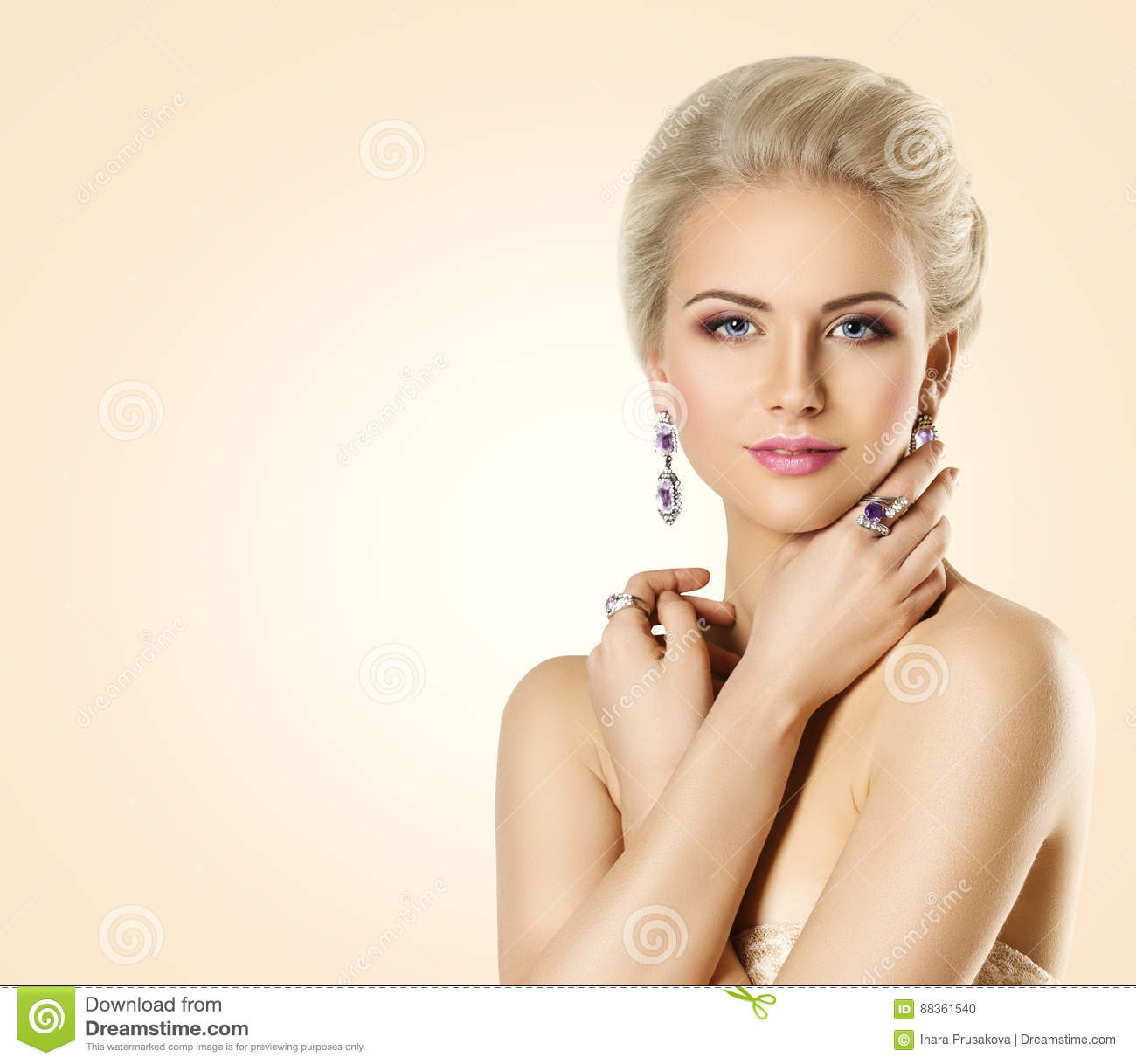 Woman Beauty Face And Jewelry, Beautiful Fashion Model