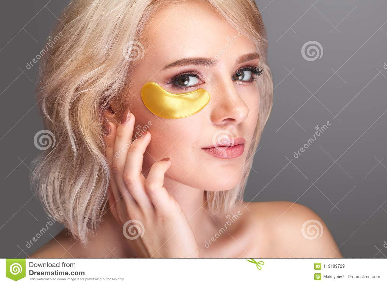 Woman Beauty Face With Mask Under Eyes Beautiful Female With Na