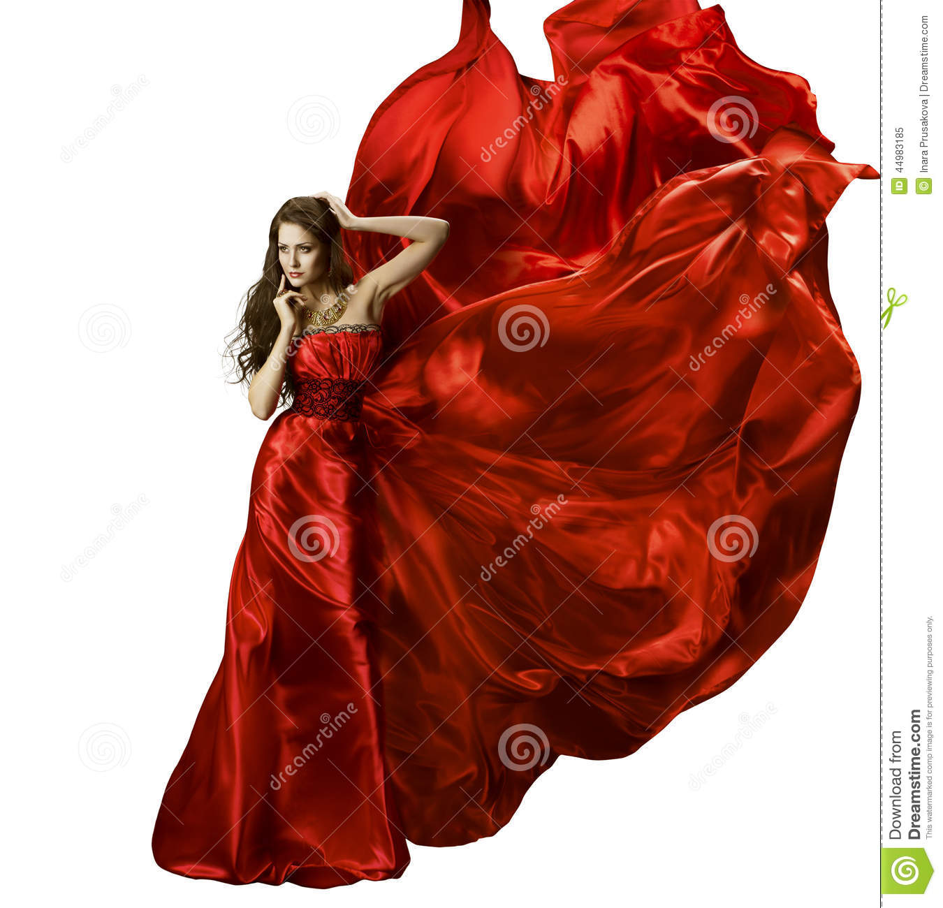 Red Dress Woman In Flying Fashion Silk Fabric