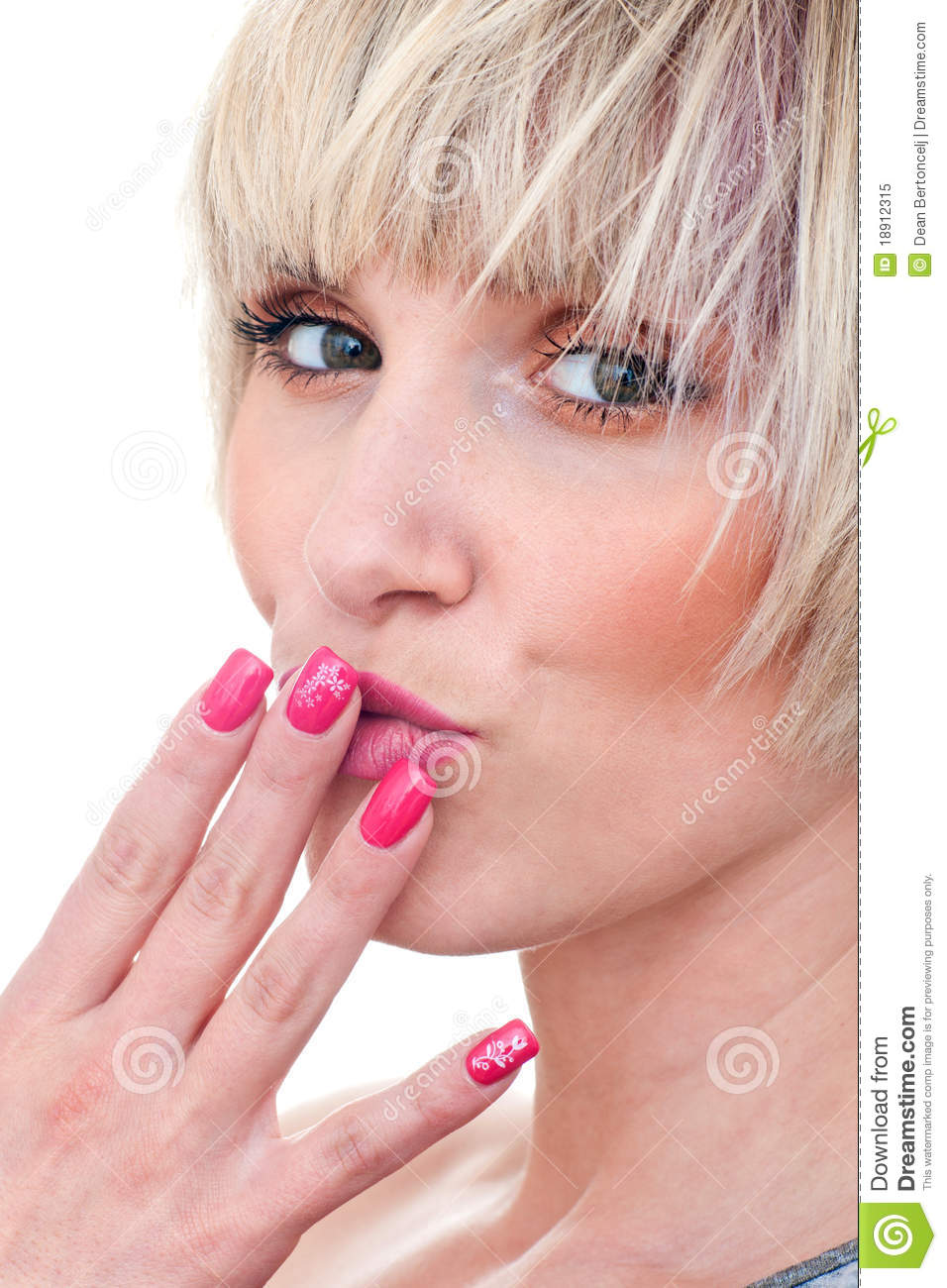 Woman Beauty Portrait With Manicured Nails Stock Image