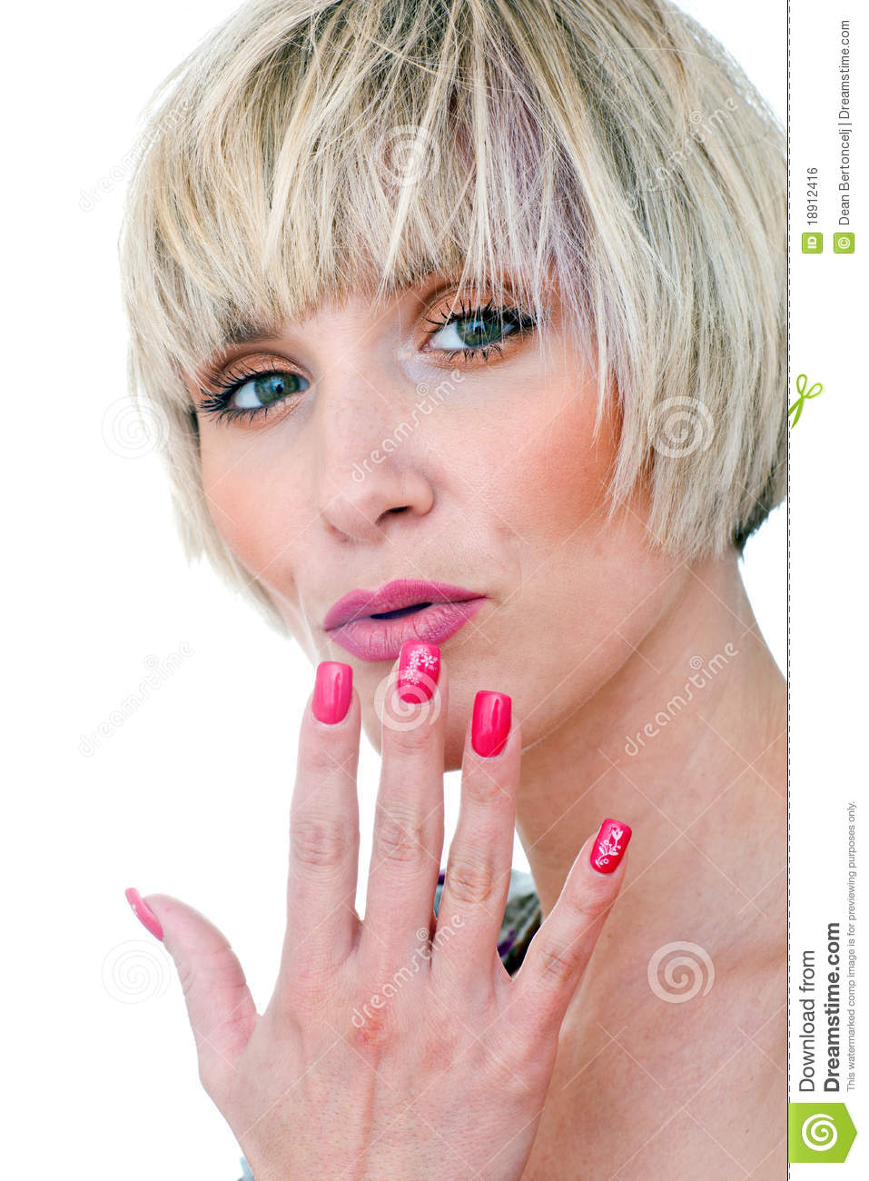 Woman Beauty Portrait With Manicured Nails Royalty Free