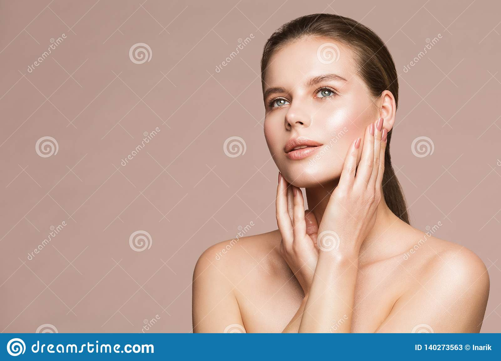 Woman Beauty Portrait, Model Touching Face, Beautiful Girl Makeup and Nails Treatment