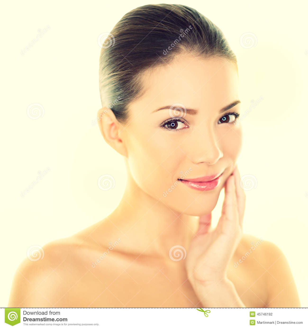 Woman Beauty Skincare Woman Touching Skin On Face Stock