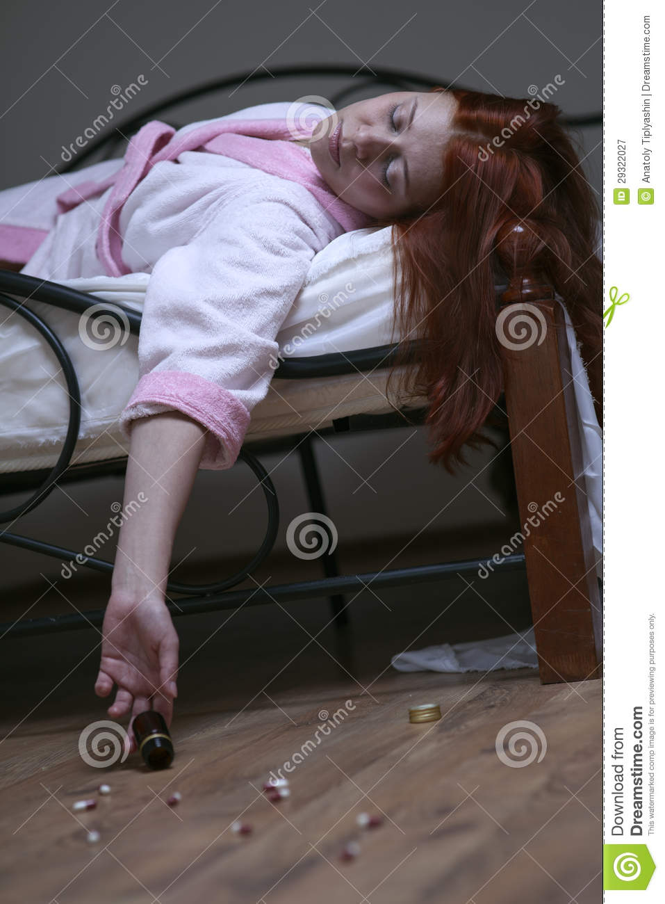 Woman In Bed Overdose Tablet Royalty Free Stock
