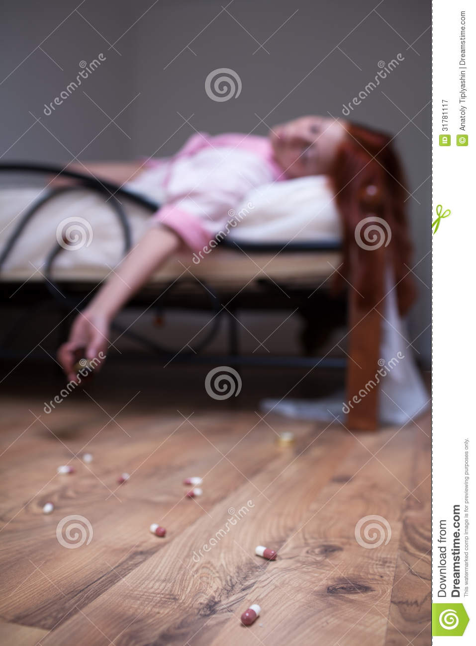 Woman In Bed Overdose Tablet Stock Image - Image of home
