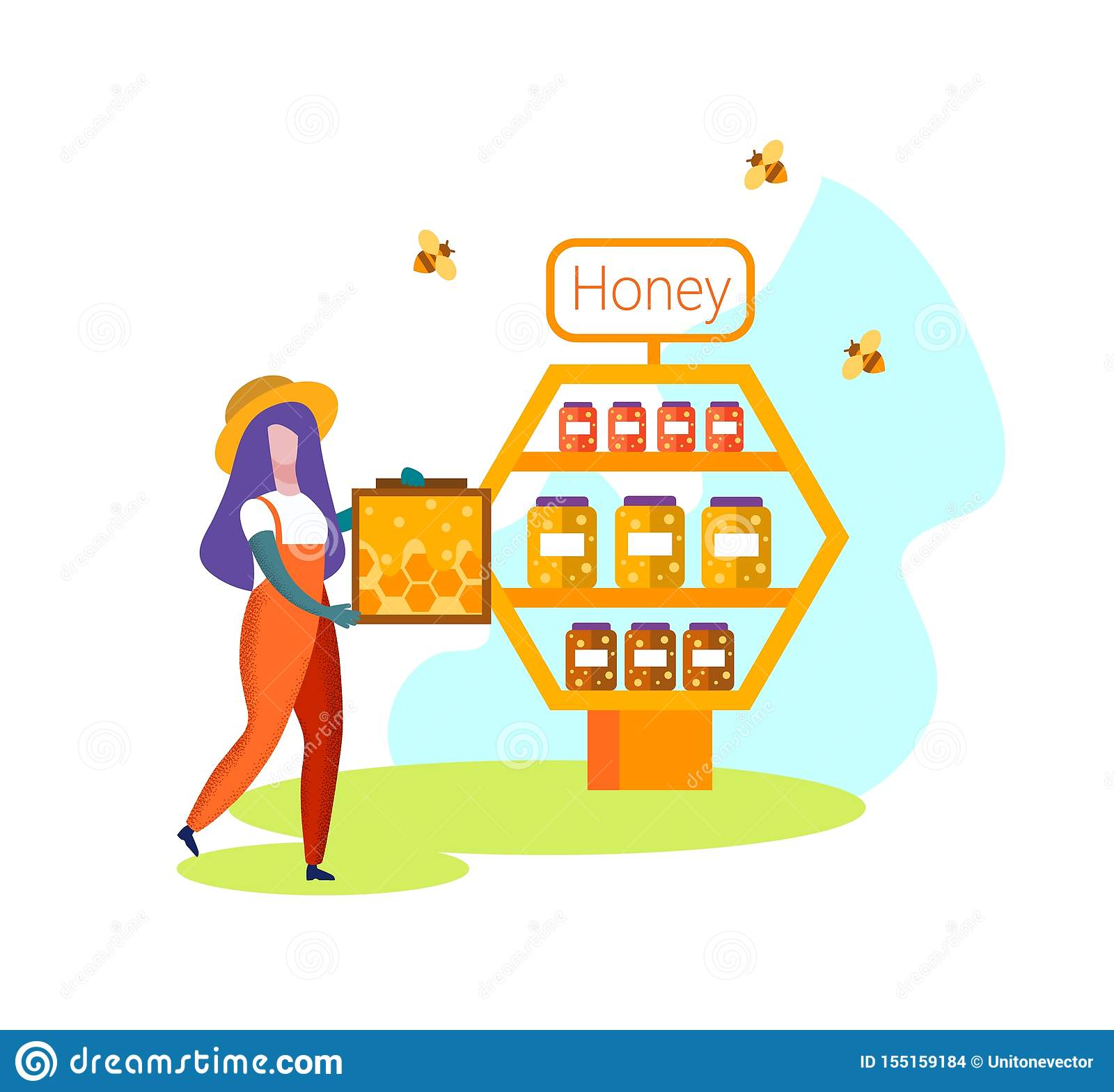 Woman Beekeeper Farmer in Uniform Carry Honeycomb