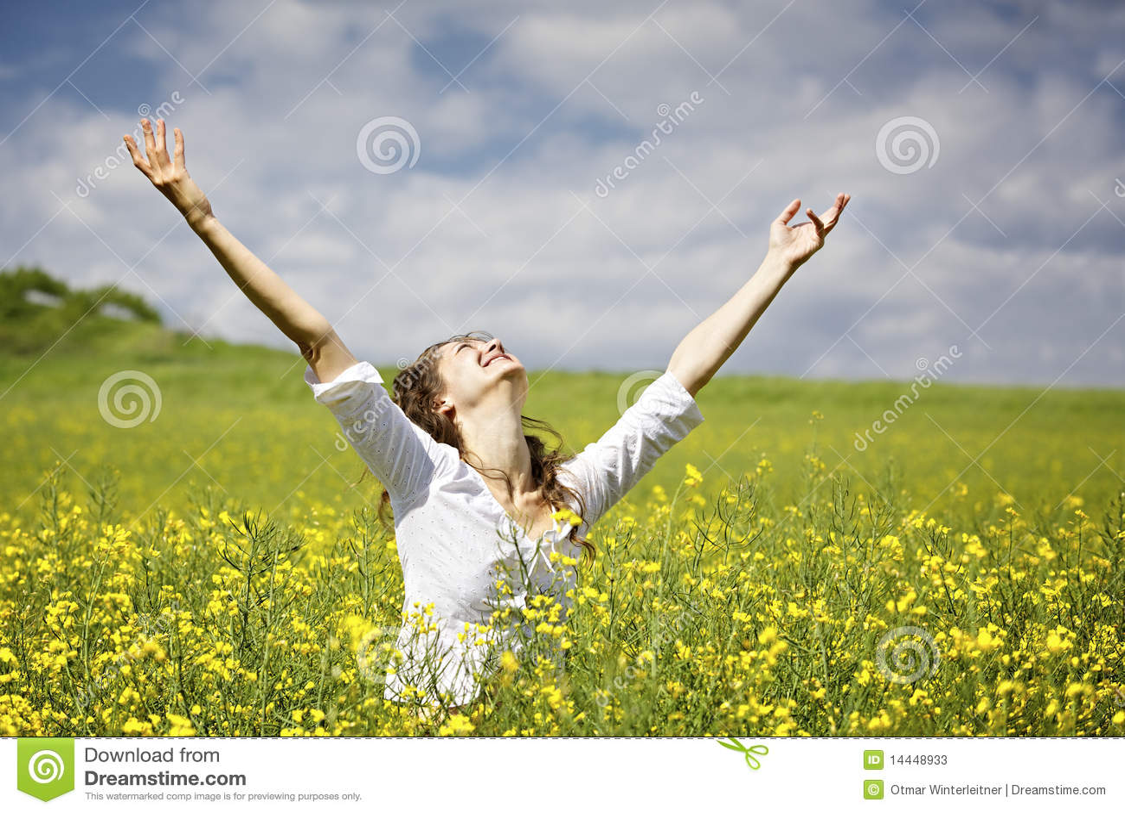 Woman being grateful