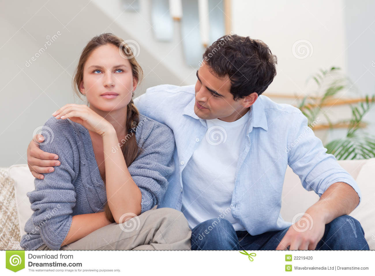 Woman being mad at her husband