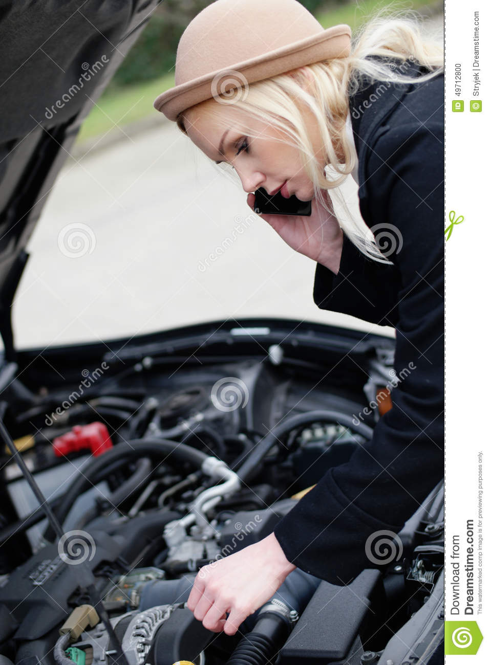 Broken Down Abandoned Stock Photos Broken Down Abandoned: Woman Being Talked Through Roadside Assistance Stock Photo