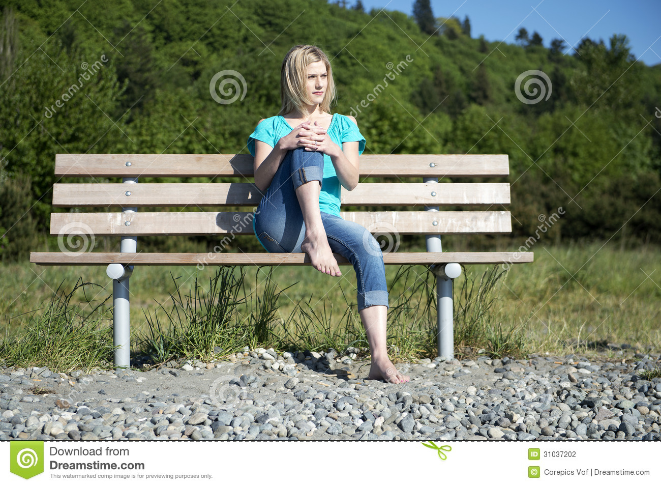Woman On Bench Stock Photography - Image: 31037202