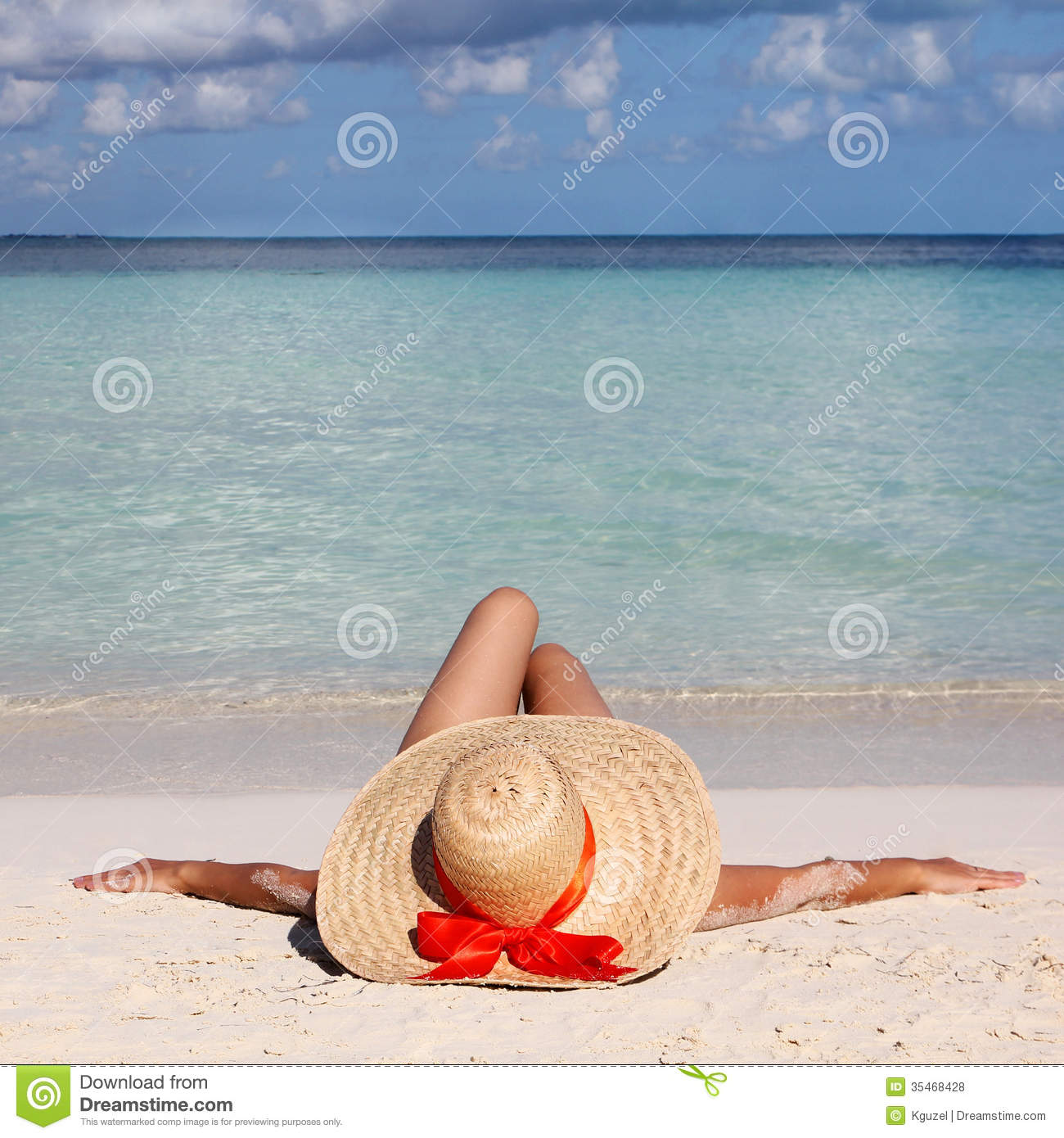 Theme Women relaxing bare in sun