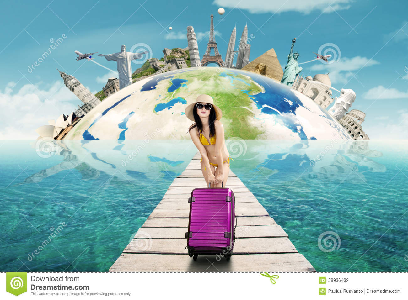 Woman with bikini and bag to travel the worldwide stock photo image of rome australia 58936432 for Travel swimsuit