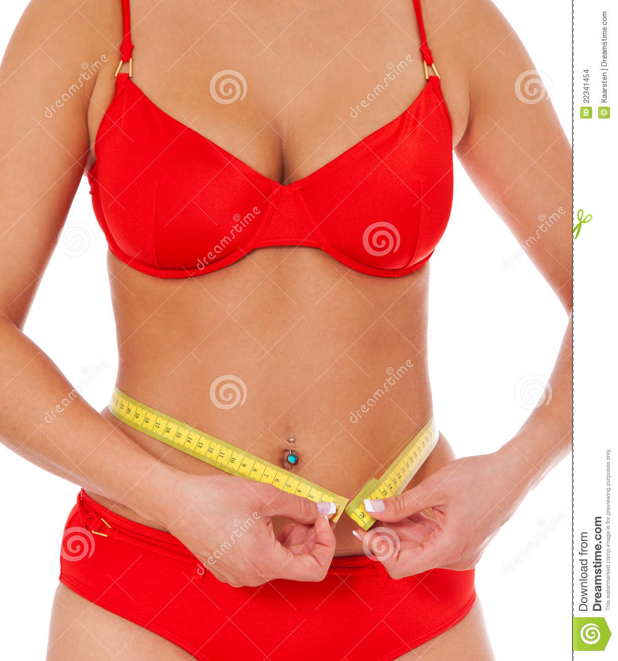 Young Attractive Woman Measures Her Body Royalty-Free ...