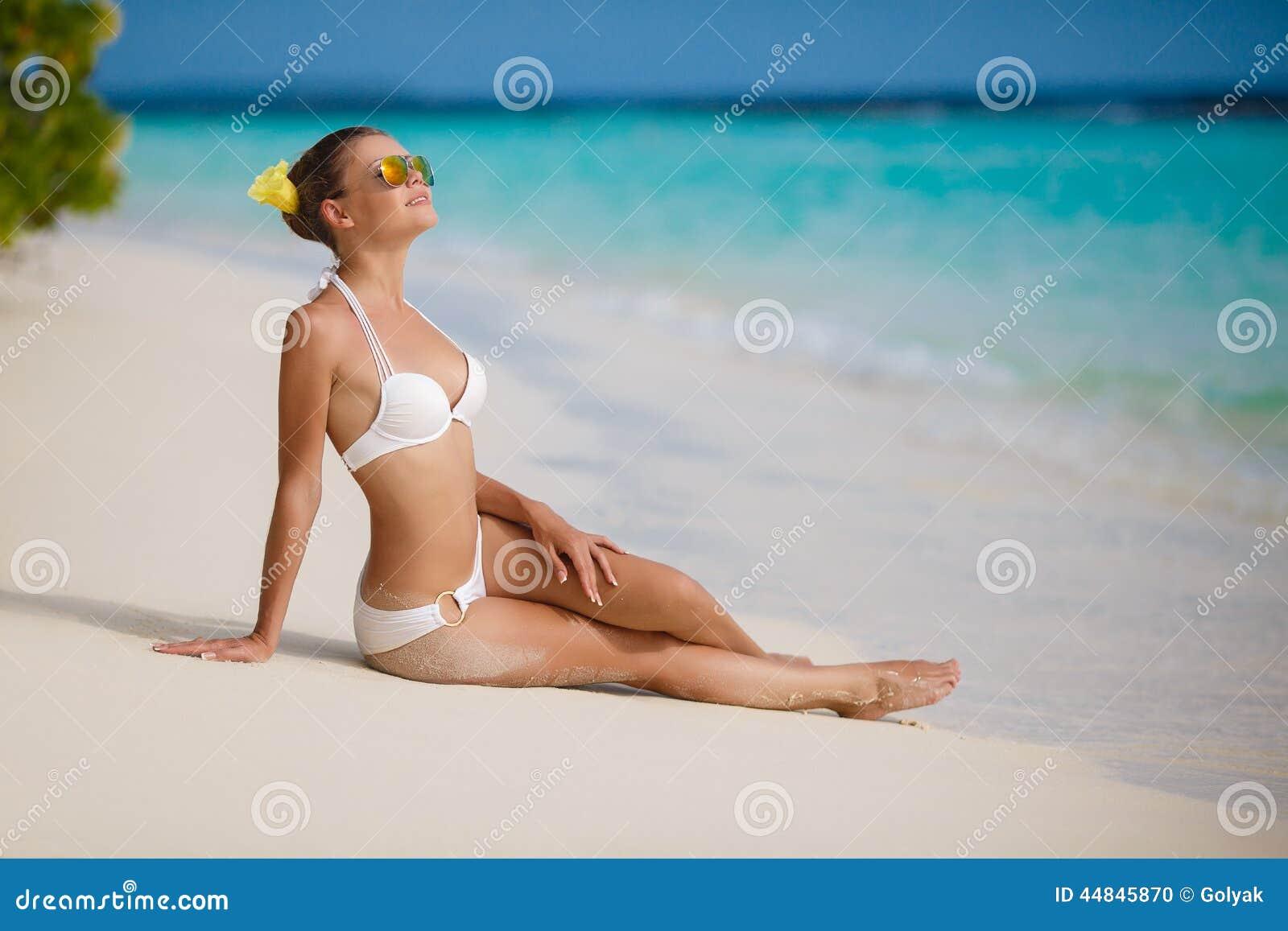 Palm Beach Tan Prices >> Woman In Bikini At Tropical Beach. Stock Photo - Image ...