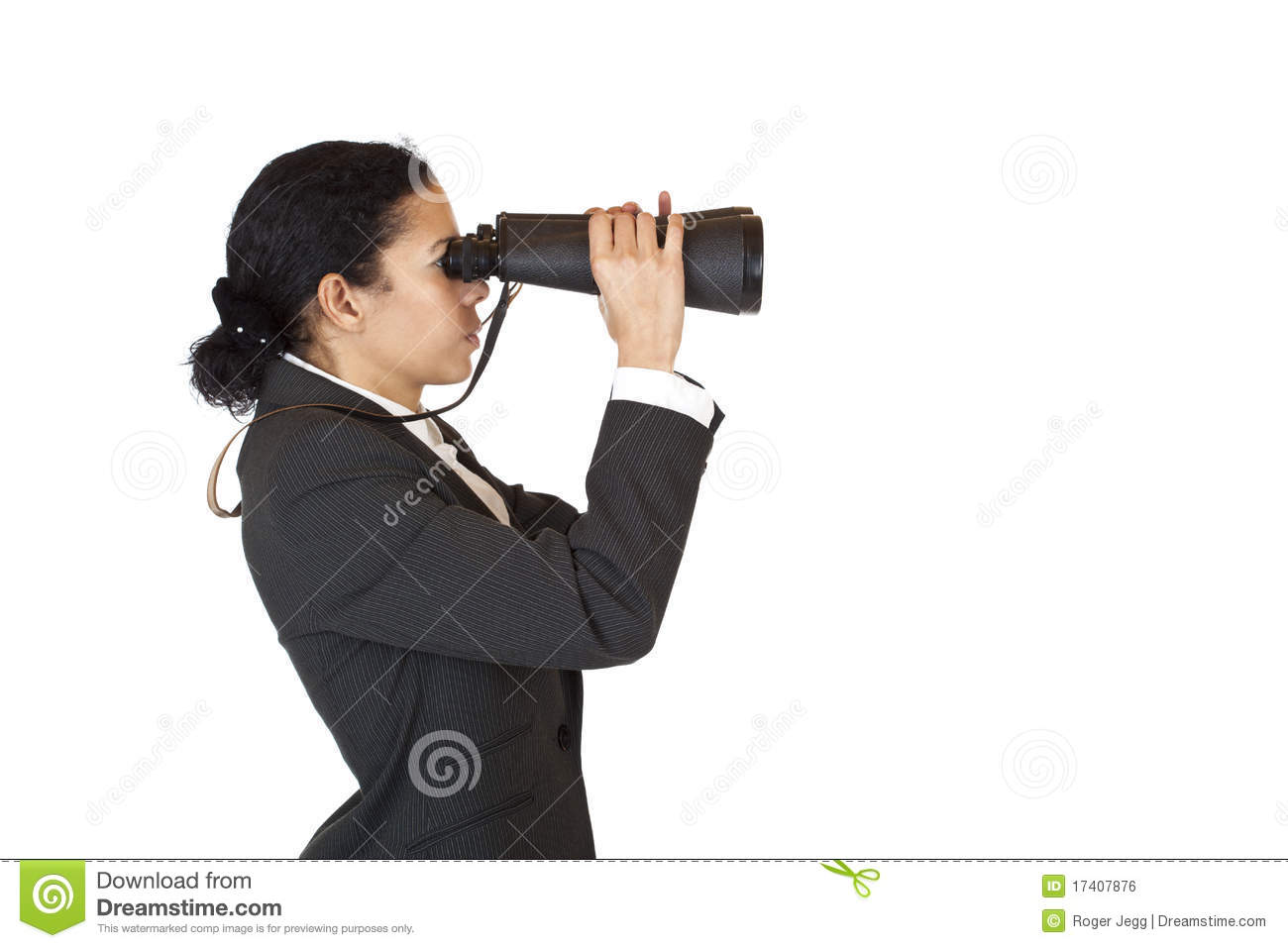Woman With Binoculars Searching For Business Royalty Free