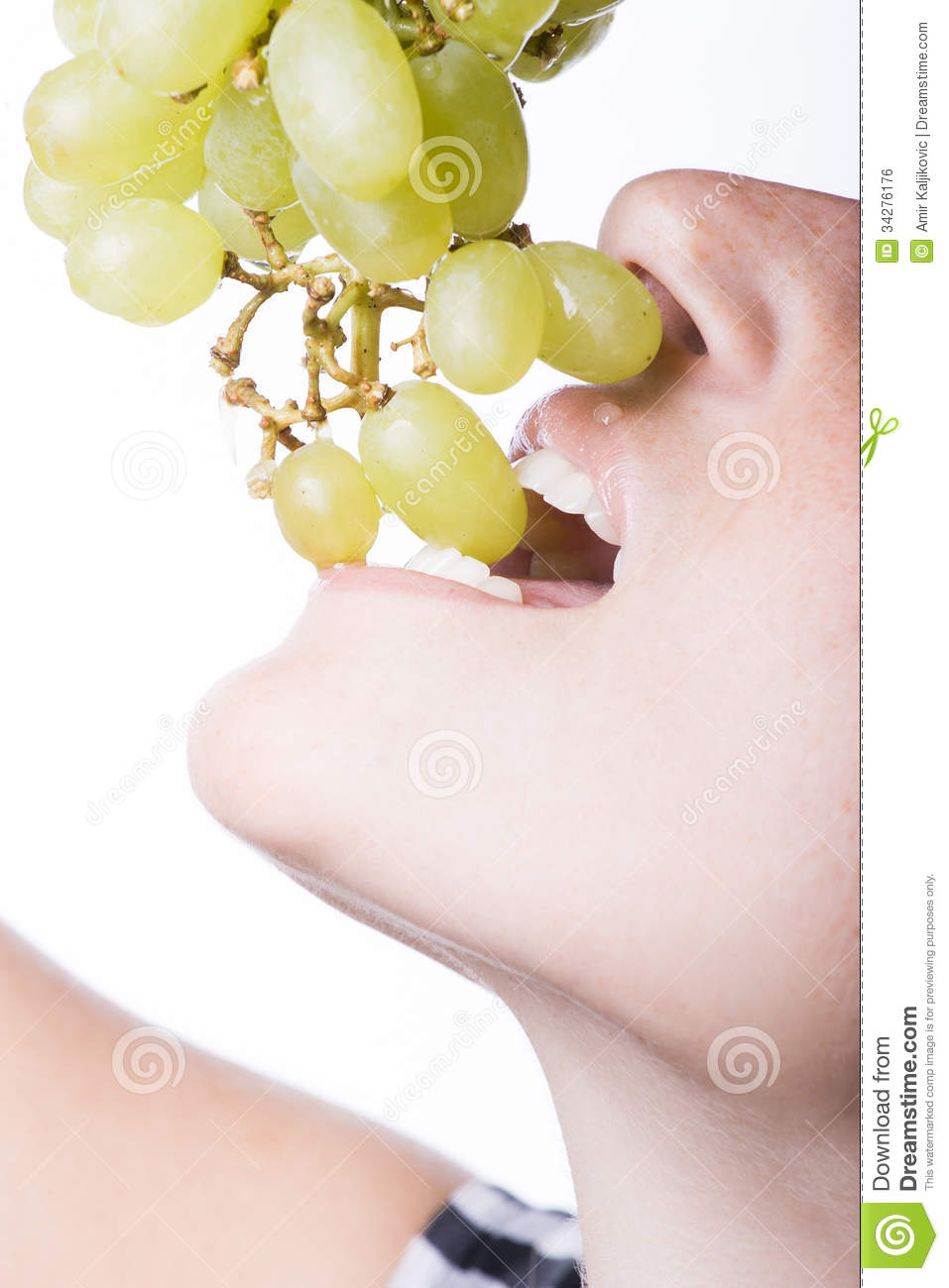 Woman Biting Green Grapes Stock Photo Image Of Open 34276176