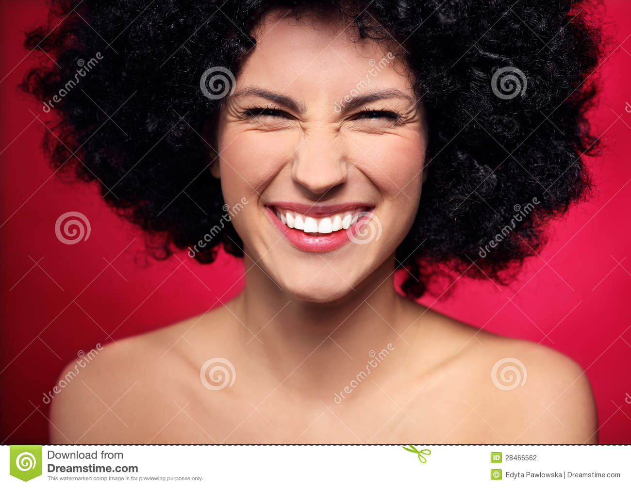 Woman With Black Afro Hairstyle Smiling Stock Photography - Image ...