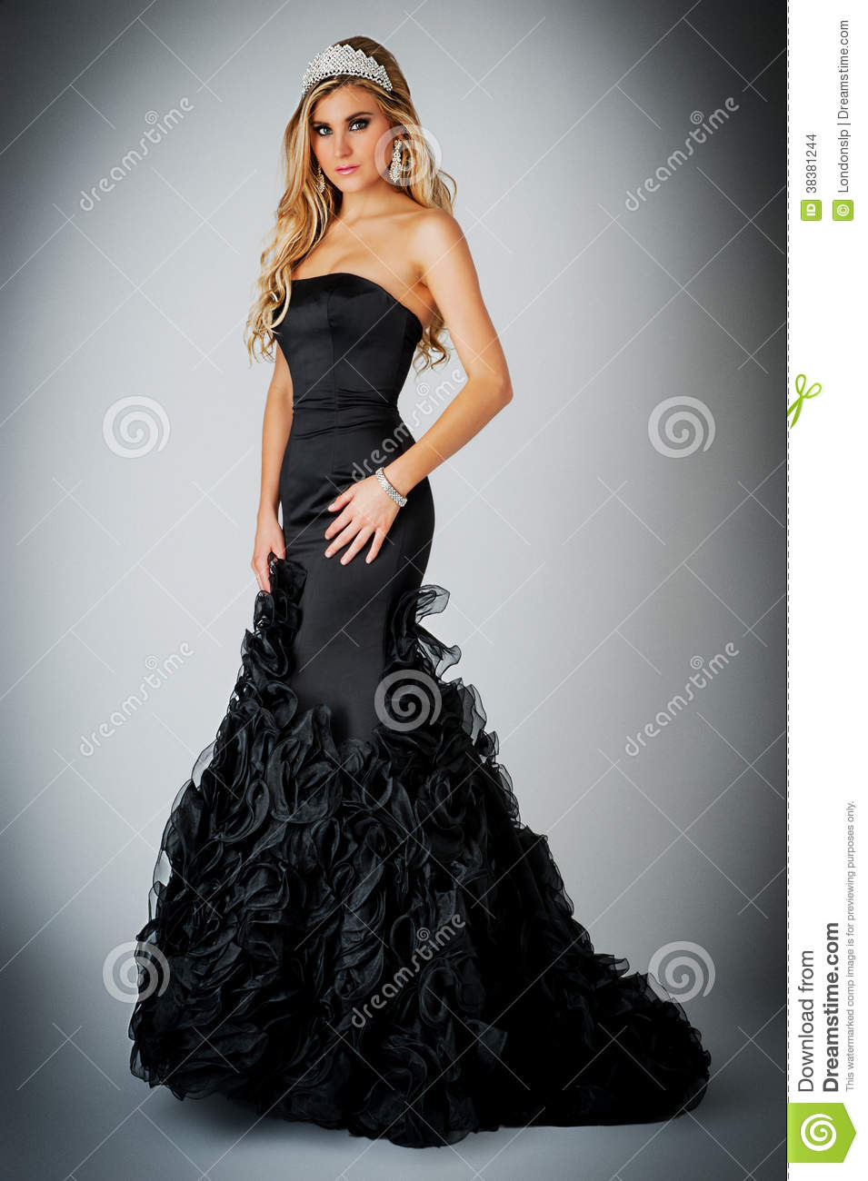 Woman In Black Ball Gown Dress. Stock Photo - Image 38381244