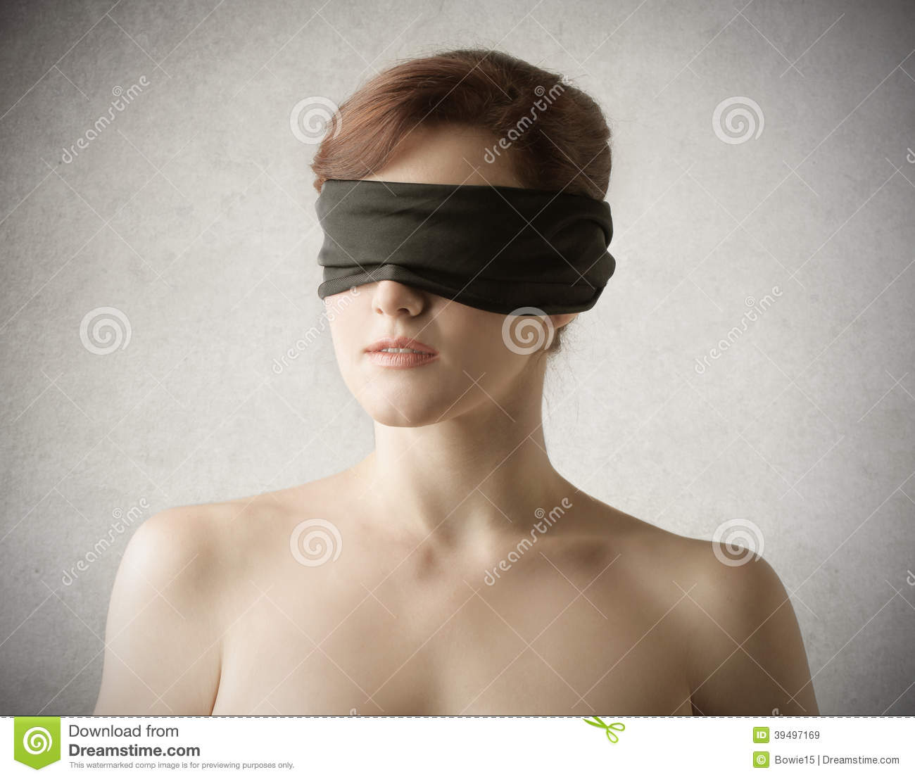 Woman With A Black Bandage On Her Eyes Stock Image Image