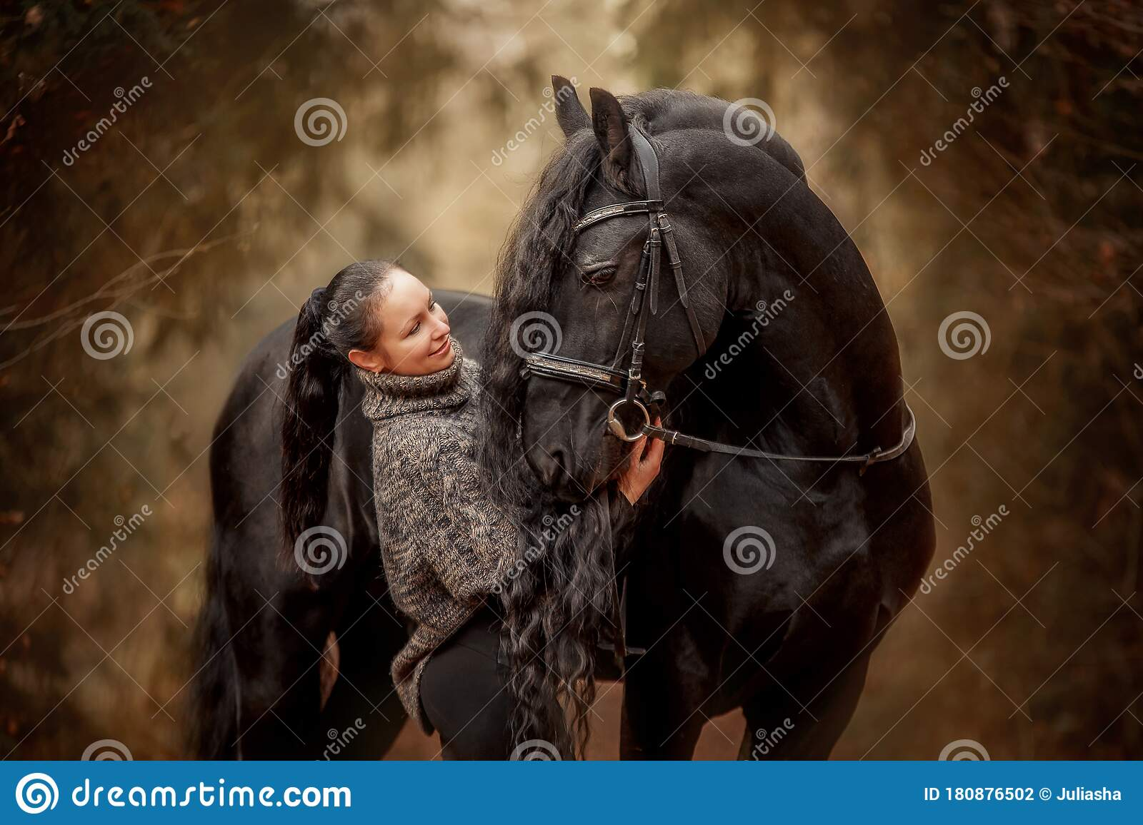Woman With Friesian Horse In An Autumn Forest Stock Photo Image Of Dark Caucasian 180876502