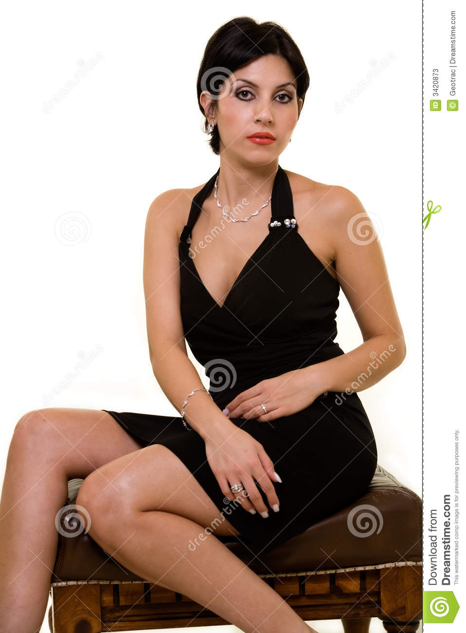 Woman In Black Dress Stock Photos Image 3420873