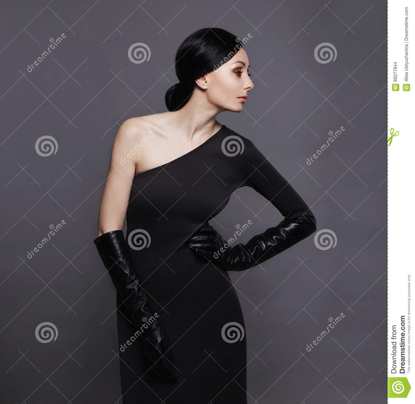 Black leather gloves female - Woman In Black Dress And Leather Gloves