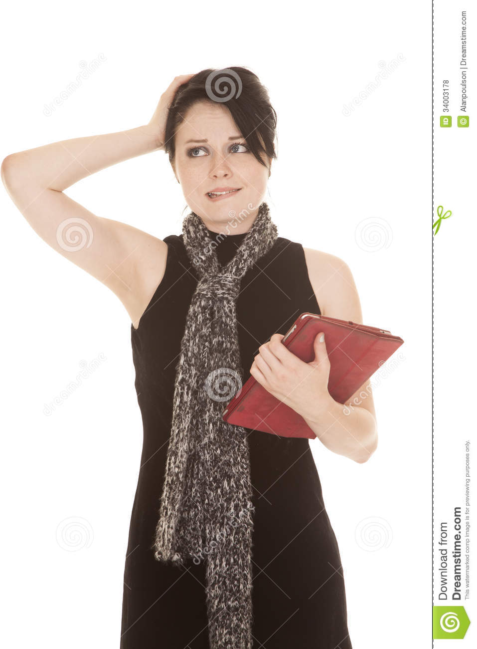 Woman black dress scarf tablet confused