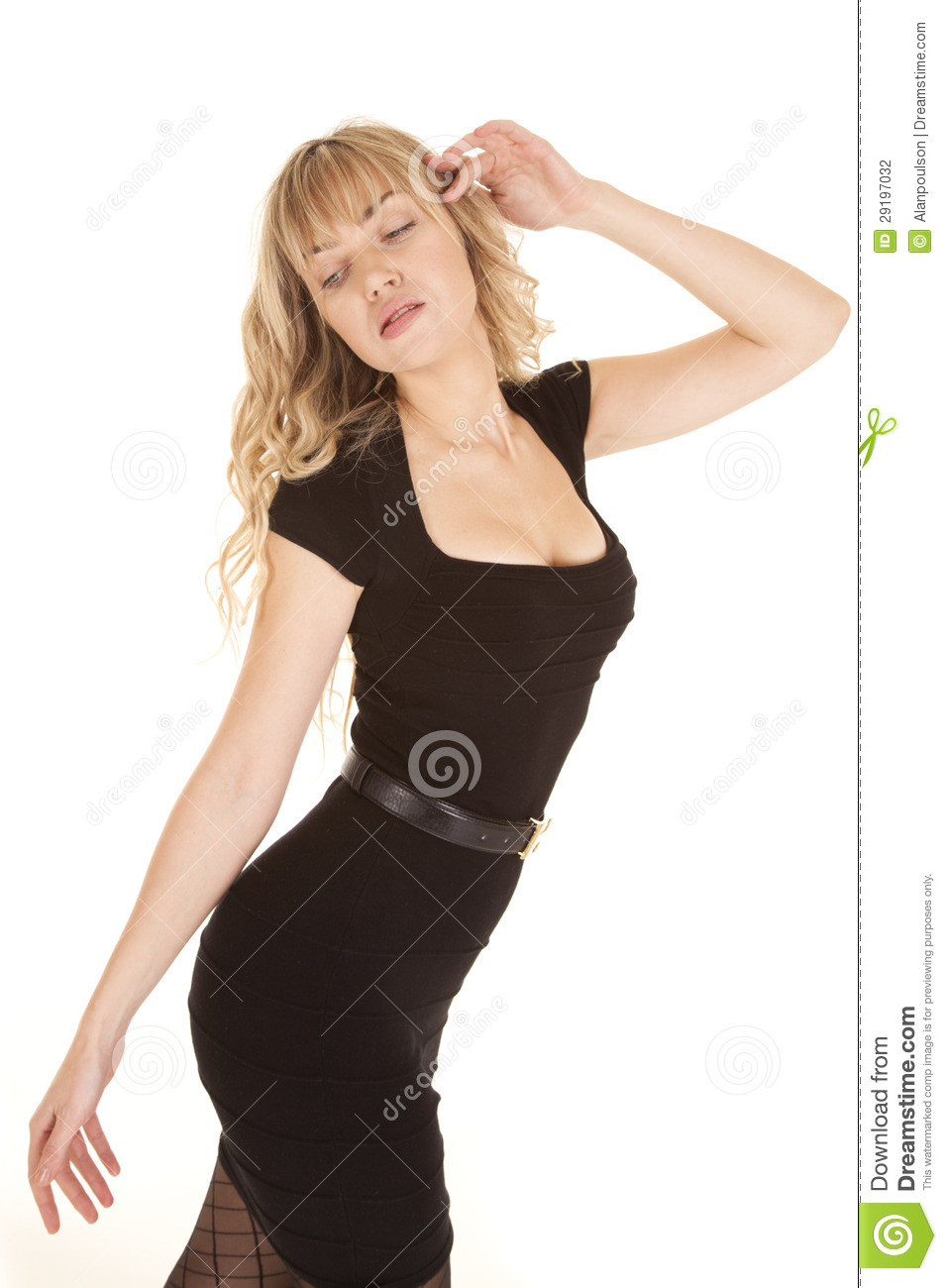 woman black dress walk look down stock photography image 29197032. Black Bedroom Furniture Sets. Home Design Ideas