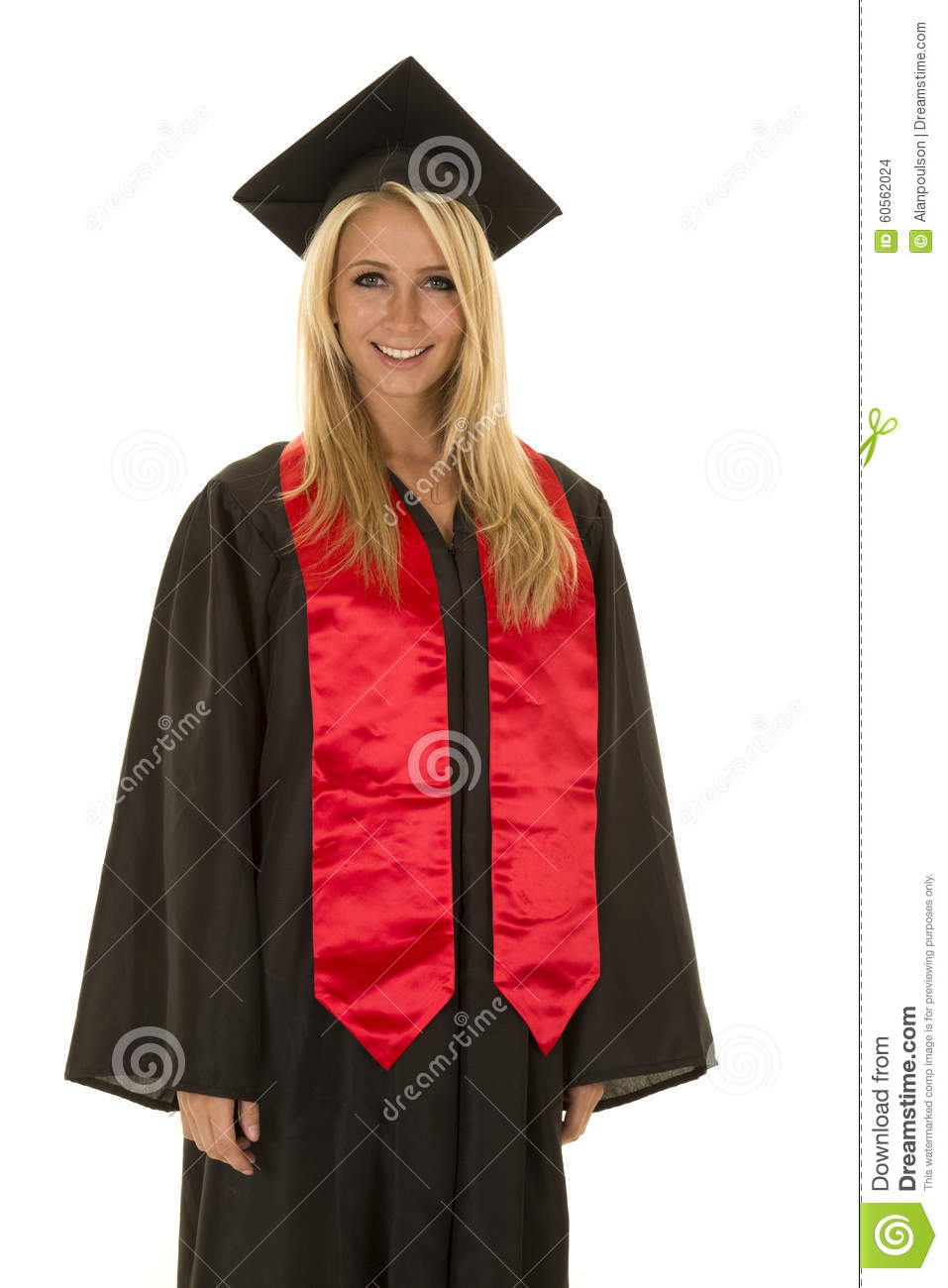 Woman In Black Graduation Gown Stand Smile Stock Photo - Image of ...