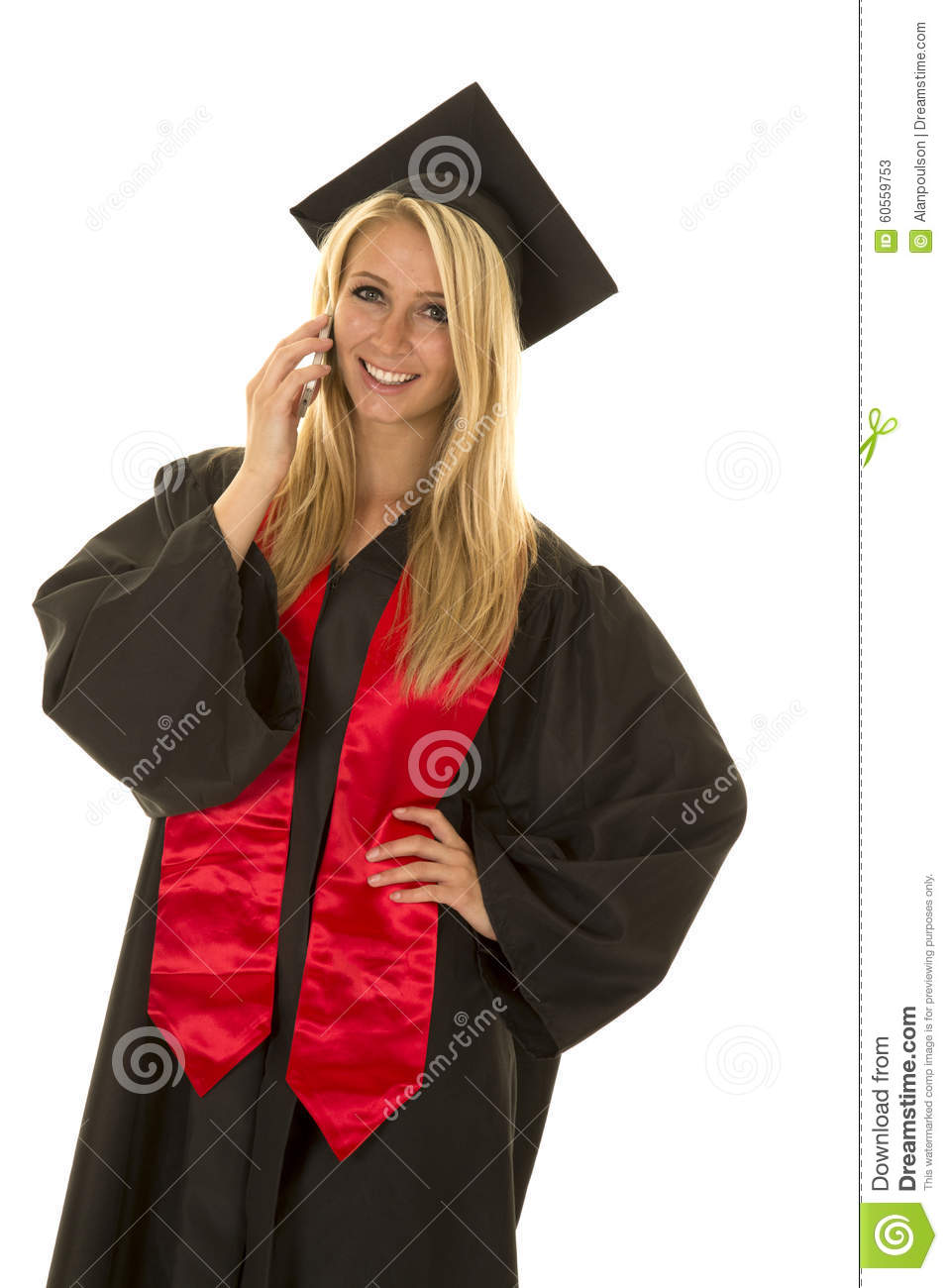 Woman In Black Graduation Gown Talk On Phone Smile Stock Image ...