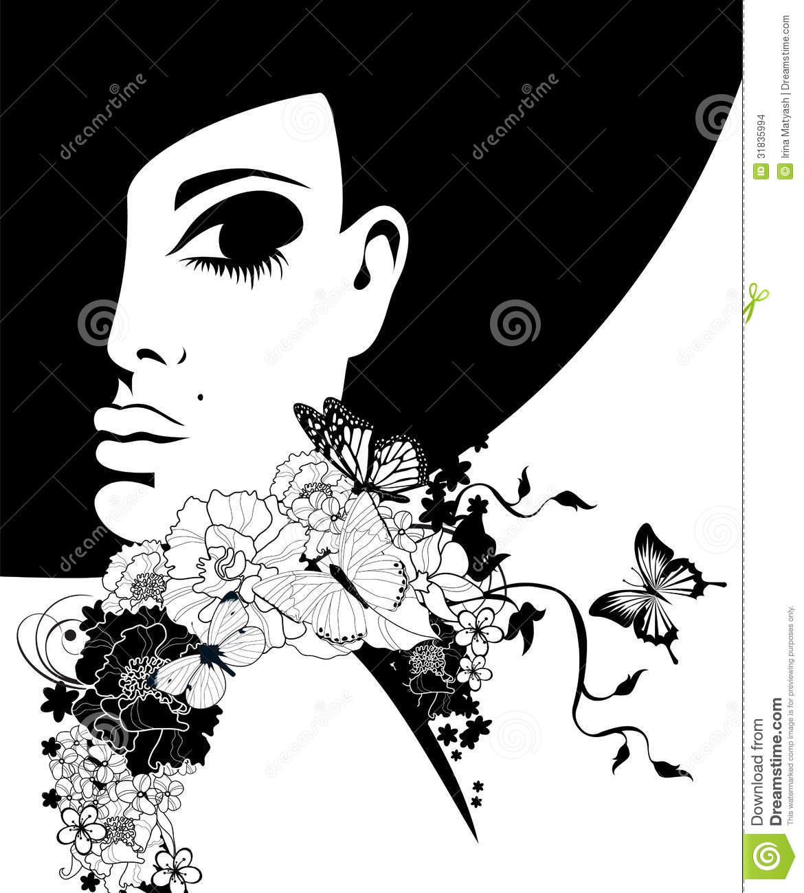 Black Flower Silhouette Stock Vector Illustration Of: Woman In A Black Hat With Flowers And Butterflies Stock