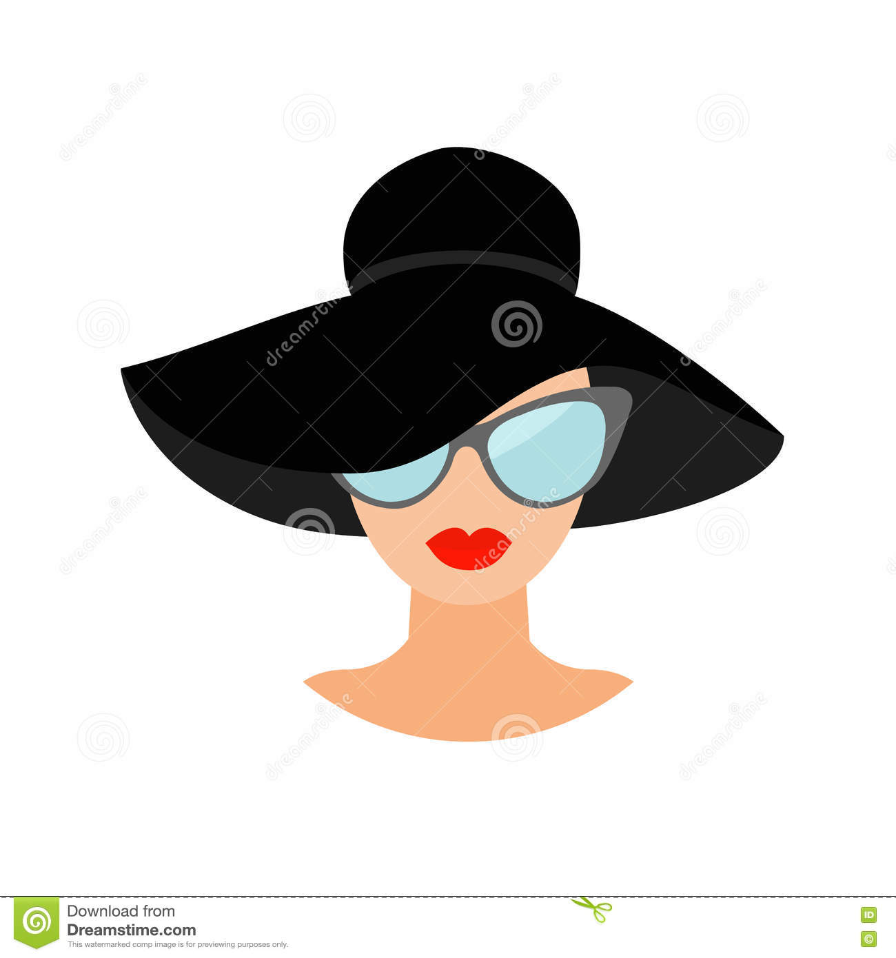 woman in black hat and sun glasses avatar people icon collection