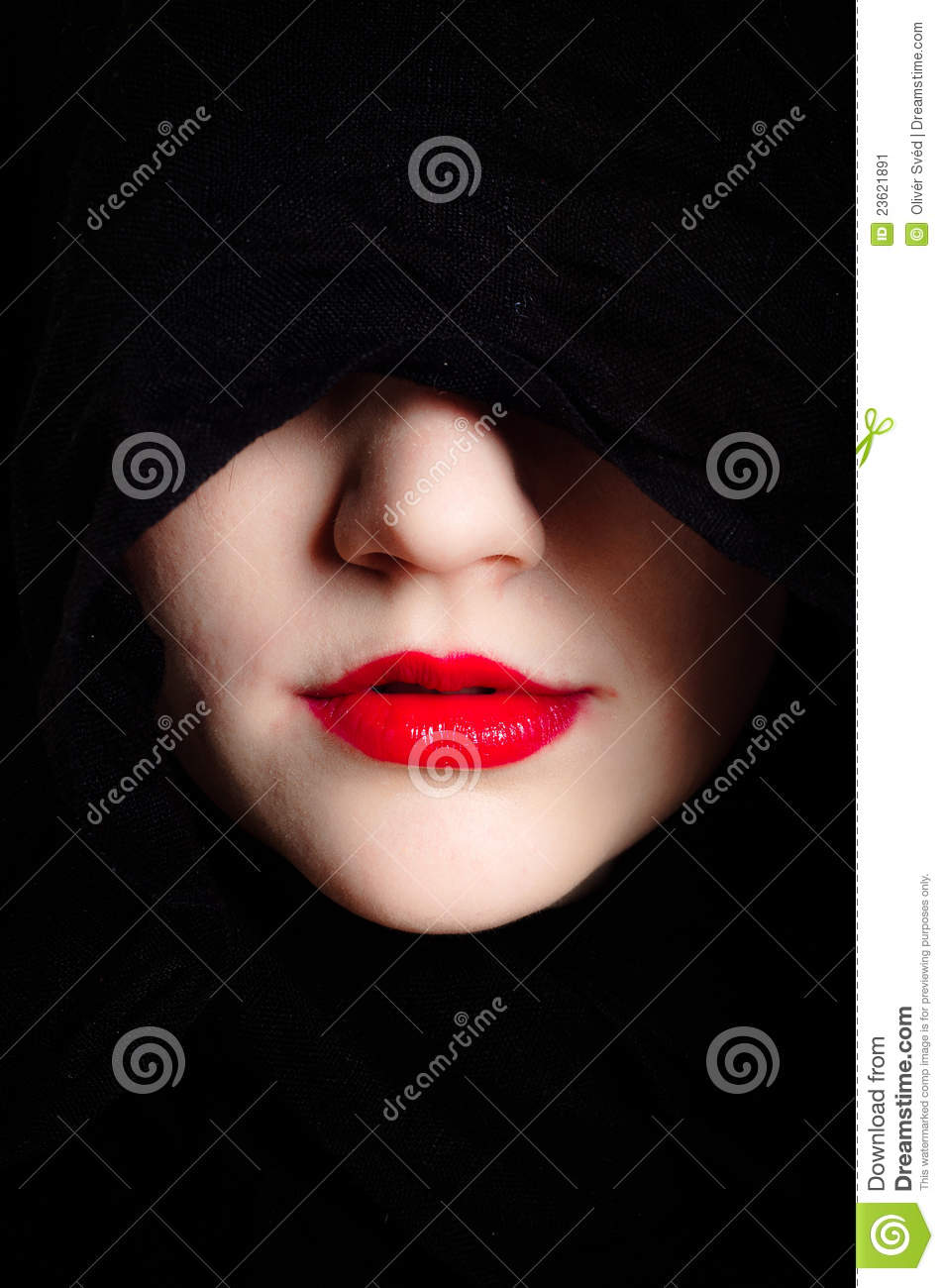 Woman In Black Hood And Red Lips Stock Image Image 23621891