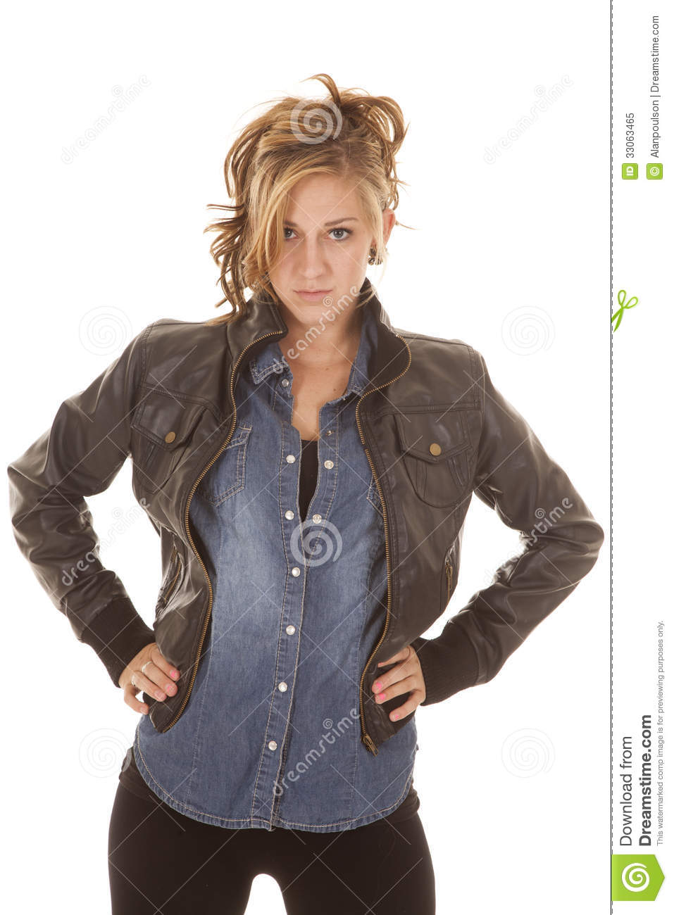 Woman black jacket denim shirt look stock image image for Leather jacket and shirt