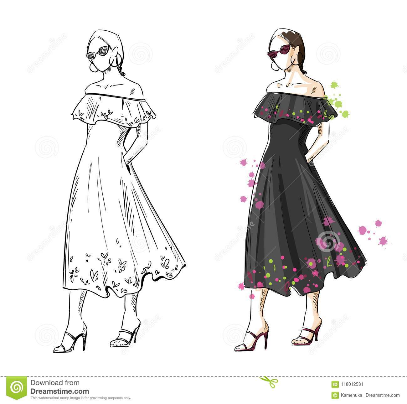 32b3e0eefac1 Woman In A Black Summer Dress