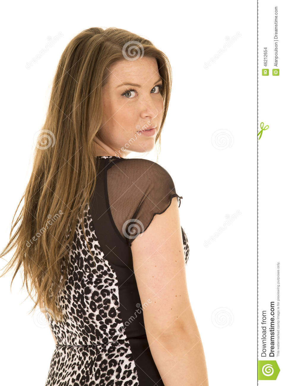 Woman Black And White Dress Look Over Shoulder Stock Photo ...