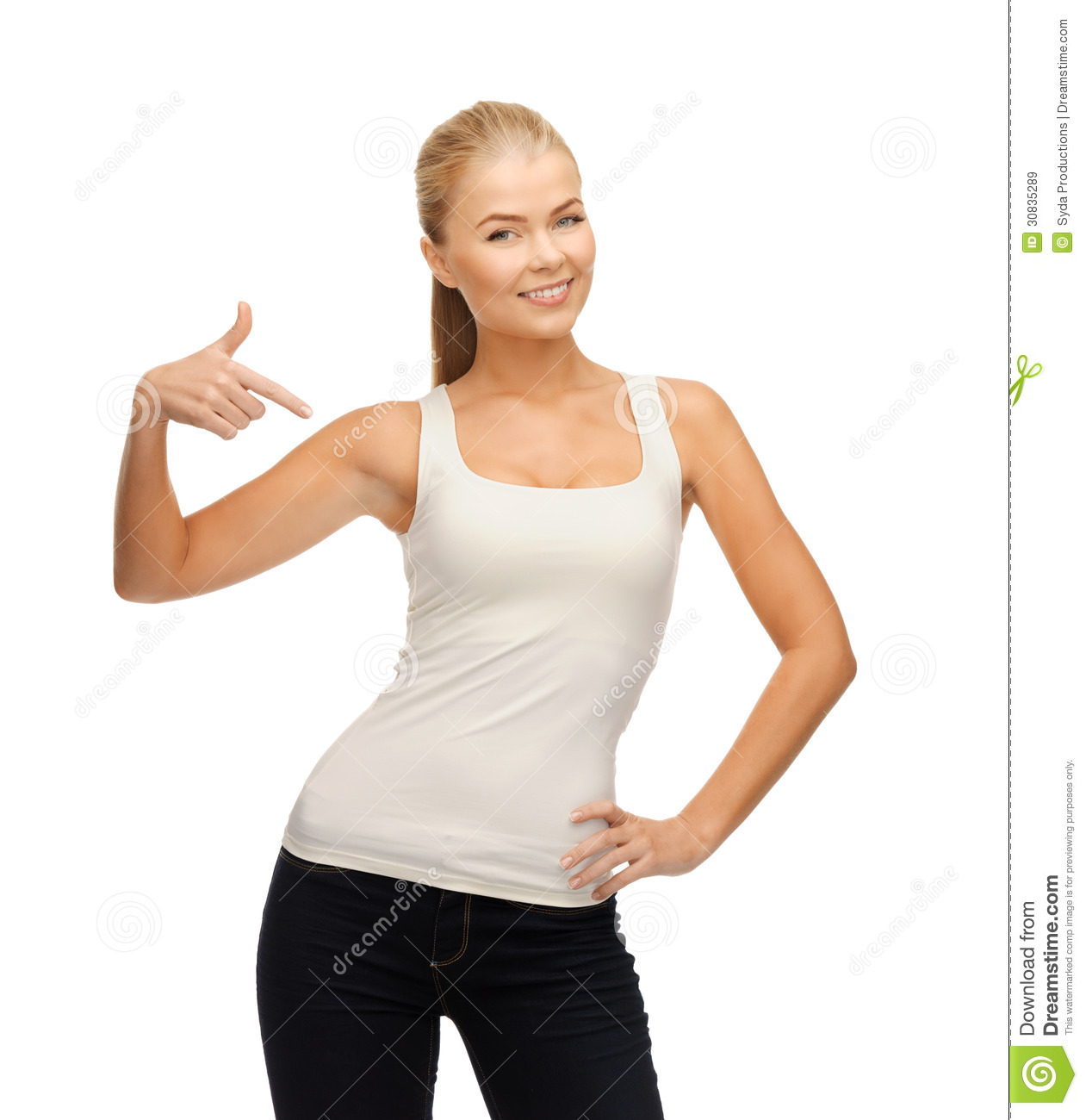 Woman In Blank White T-shirt Pointing At Herself Stock Photo ...