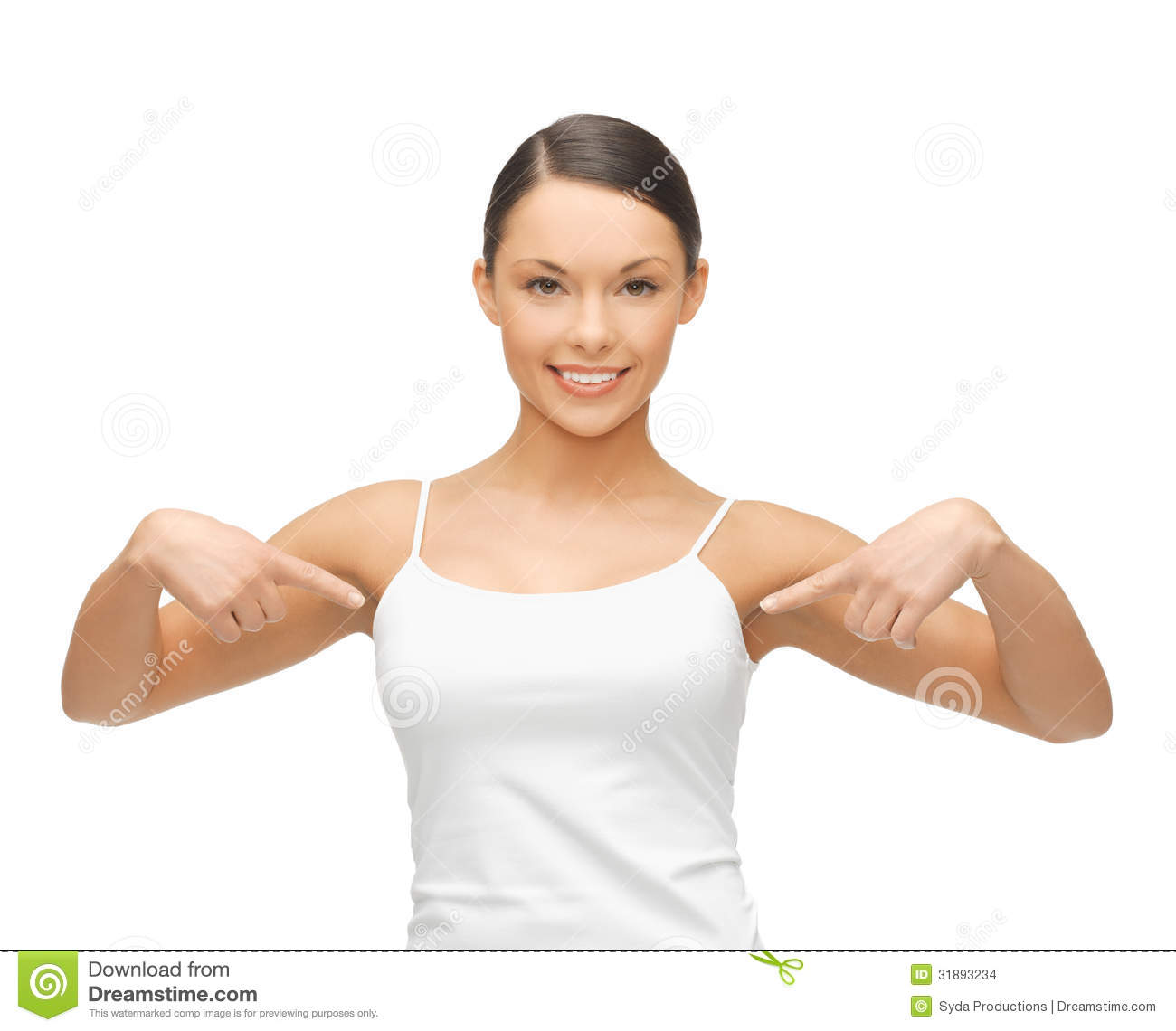 Woman In Blank White T-shirt Pointing At Herself Stock Images - Image ...