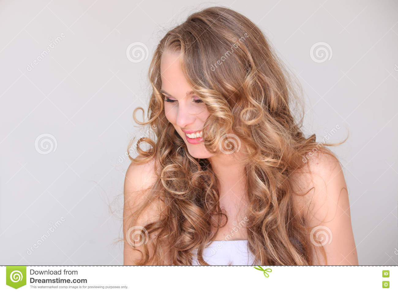 Woman, blond curly hair beautiful skin