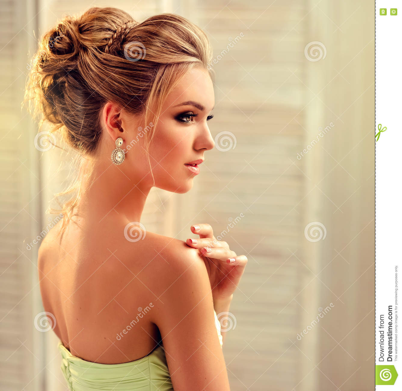Woman With Blond Hair Wears In A Wedding Gown Stock Photo Image