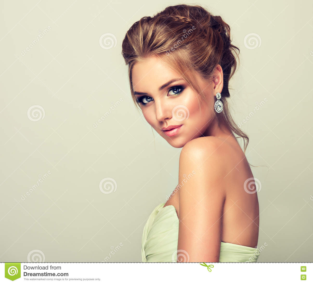Woman With Blond Hair, Wears In A Wedding Gown. Stock Image - Image ...