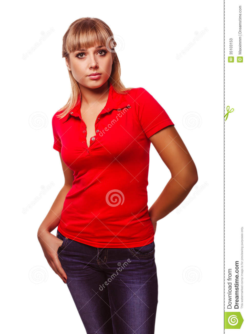 Woman Blonde Girl In A Red T Shirt And Blue Jeans Stock